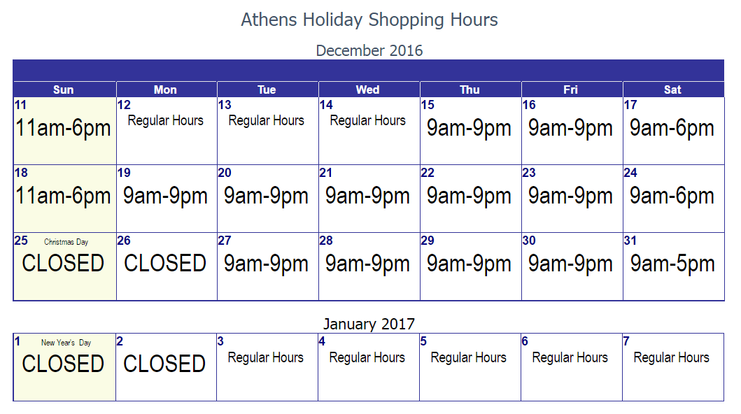Athens Greece Holiday Shopping Hours 2016