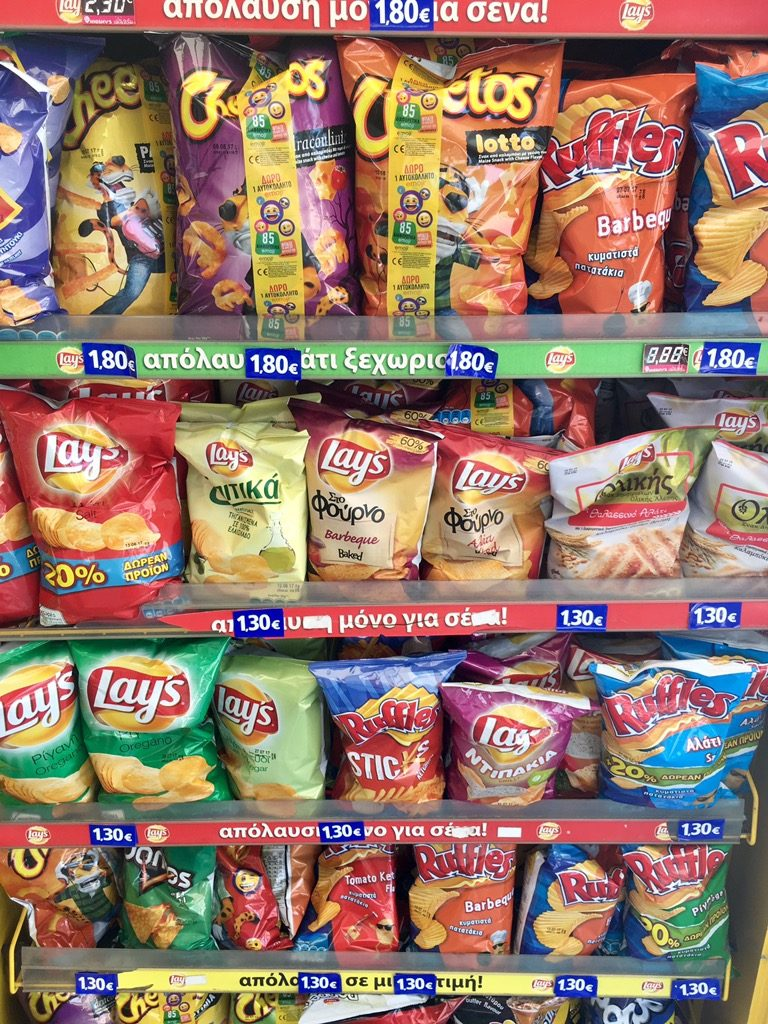 Snacks sold at a kiosk in Athens