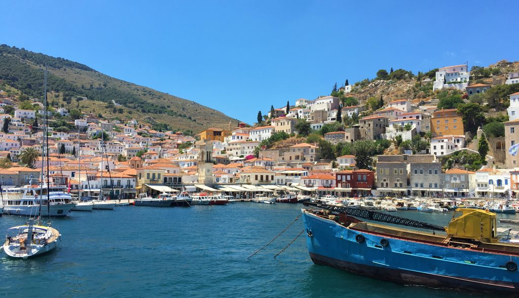 View of entering Hydra Port
